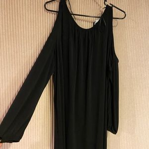 Long sleeve cold shoulder black dress